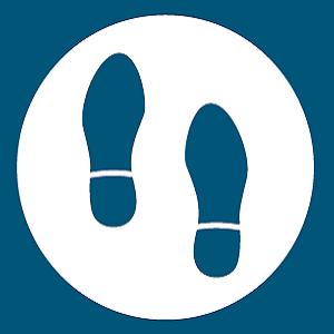 Imagen de la categoría de suelas para hombre. Dos pisadas de calzado de hombre.