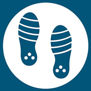 Imagen de la categoría de suelas para niño. Dos pisadas de calzado de niño.